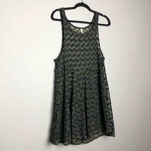 free people green black chevron mesh dress